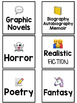 Genre Book Bin Labels with Emojis