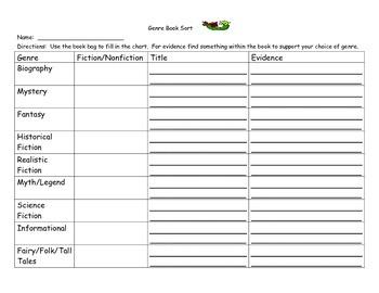 Genre Book Sort Worksheet