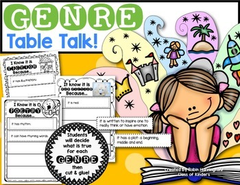 Genre Table Talk: Printables for First Grade & Kindergarte