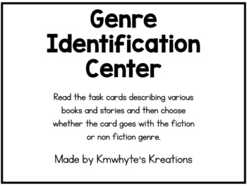 Genre Identification Center - 24 Task Cards (Printer-friendly_