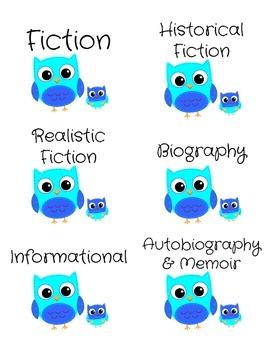 Genre Labels for Book Bins -- Blue Owls