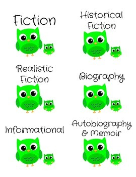 Genre Labels for Book Bins -- Green Owls