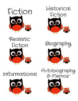 Genre Labels for Book Bins -- Red Owls