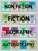 Genre Library cards for Students (Fiction, Nonfiction,Auto