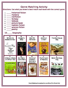 Genre Matching Activity: Fiction & Nonfiction Genres