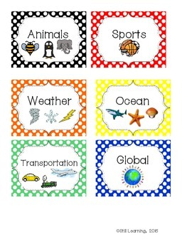 Genre and Topic Book Library Labels