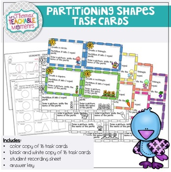 Geoboard Partitioning and Naming Fractions (Bird Theme)