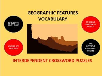 Geographic Features Vocabulary: Interdependent Crossword P