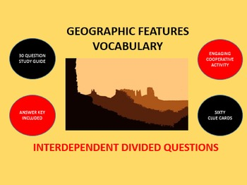 Geographic Features Vocabulary: Interdependent Divided Que