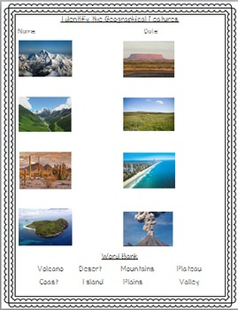Geographical Features Activities