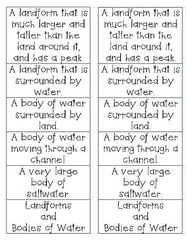 Geographical Features - Landforms and Bodies of Water