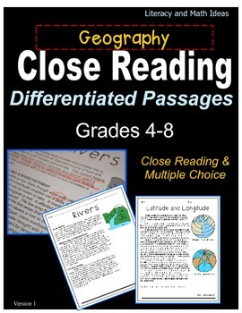 Geography Close Reading Differentiated Passages (Grades 4-8)