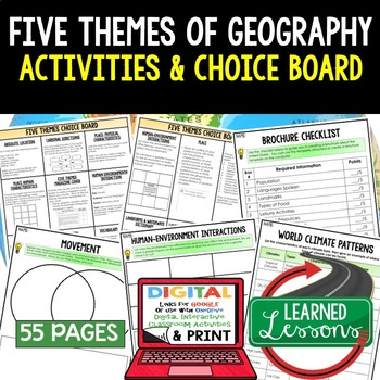 Geography Five Themes Choice Board Activity Pages (Paper &
