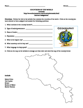 Geography/Map Armenia Internet Assignment Middle or High School