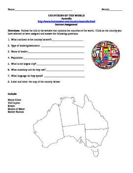 FREE! Geography/Map Australia Internet Assignment Middle o
