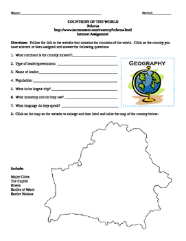 Geography/Map Belarus Internet Assignment Middle or High School