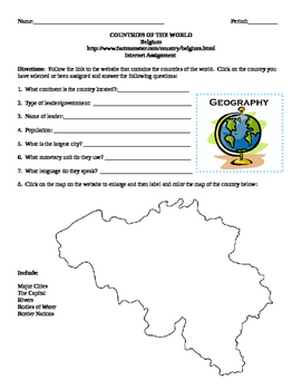 Geography/Map Belgium Internet Assignment Middle or High School