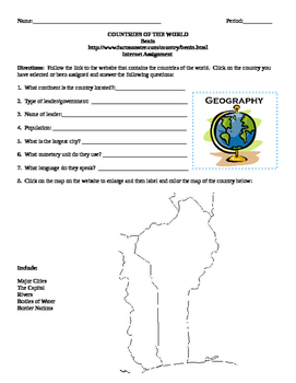 Geography/Map Benin Internet Assignment Middle or High School