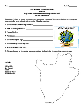 Geography/Map Burundi Internet Assignment Middle or High School
