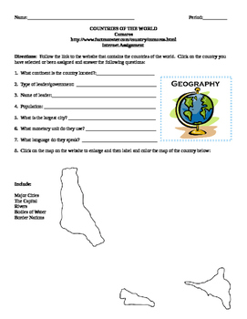 Geography/Map Comoros Internet Assignment Middle or High School