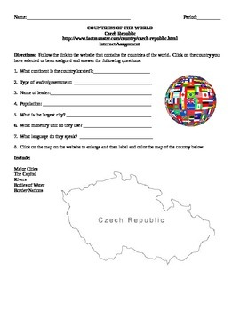 Geography/Map Czech Republic Internet Assignment Middle or