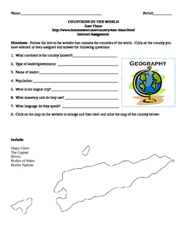 Geography/Map East Timor Internet Assignment Middle or Hig