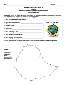 Geography/Map Ethiopia Internet Assignment Middle or High School