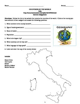 Geography/Map Italy Internet Assignment Middle or High School