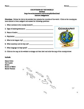Geography/Map Kiribati Internet Assignment Middle or High School