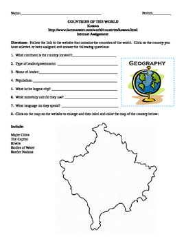 Geography/Map Kosovo Internet Assignment Middle or High School