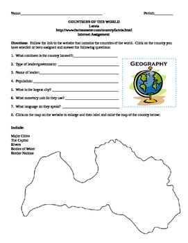 Geography/Map Latvia Internet Assignment Middle or High School