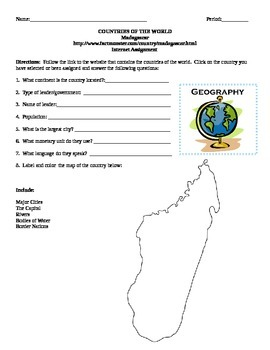 Geography/Map Madagascar Internet Assignment Middle or Hig