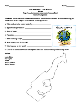 Geography/Map Monaco Internet Assignment Middle or High School