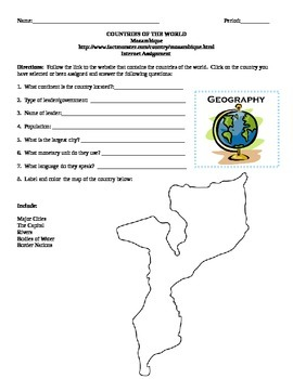 Geography/Map Mozambique Internet Assignment Middle or Hig