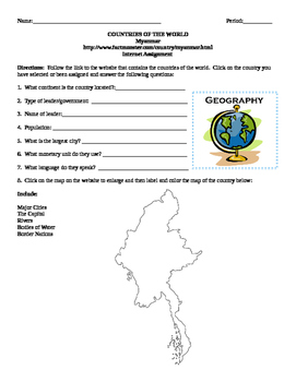 Geography/Map Myanmar Internet Assignment Middle or High School