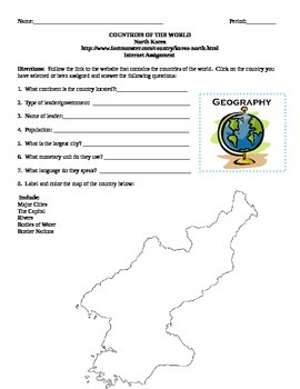Geography/Map North Korea Internet Assignment Middle or Hi