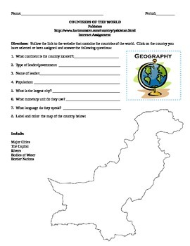 Geography/Map Pakistan Internet Assignment Middle or High School