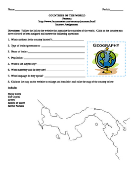 Geography/Map Panama Internet Assignment Middle or High School