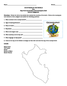 Geography/Map Peru Internet Assignment Middle or High School