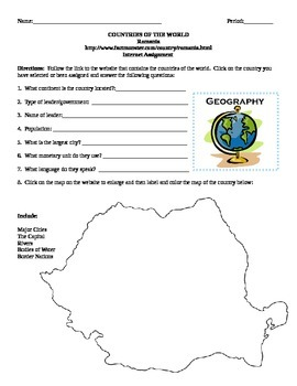 Geography/Map Romania Internet Assignment Middle or High School
