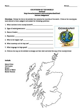 Geography/Map Scotland Internet Assignment Middle or High School