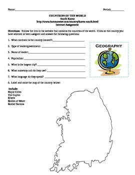 Geography/Map South Korea Internet Assignment Middle or Hi