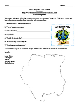 Geography/Map Suriname Internet Assignment Middle or High School