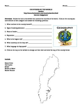 Geography/Map Sweden Internet Assignment Middle or High School