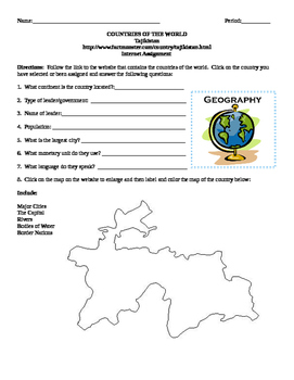 Geography/Map Tajikistan Internet Assignment Middle or Hig