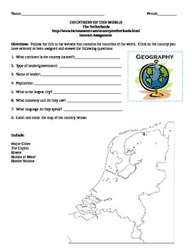 Geography/Map The Netherlands Internet Assignment Middle o