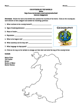 Geography/Map Wales Internet Assignment Middle or High School