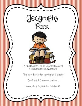 Geography Pack: 3 passages, questions, foldable, vocab, so