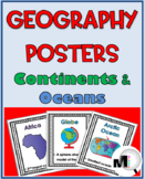 Geography Word Wall Posters - Continents and Oceans