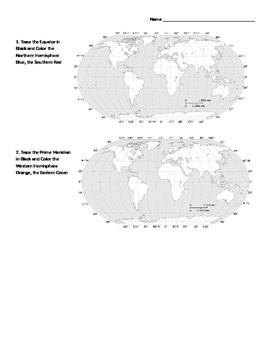 Geography Review - Hemispheres and Latitude/Longitude